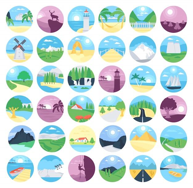 Coleção de ícones de paisagens Vetor Premium