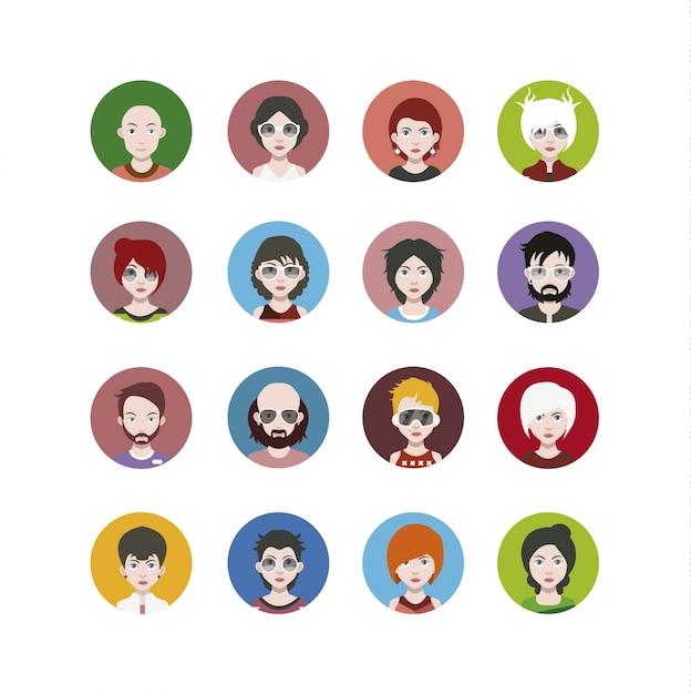 Coleção de ícones de personagens Vetor grátis