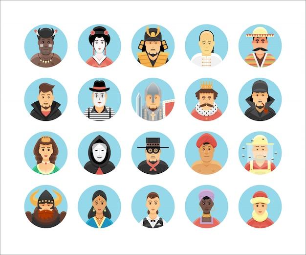 Coleção de ícones de pessoas. conjunto de ícones ilustrando ocupações de pessoas, estilos de vida, nações e culturas. Vetor Premium