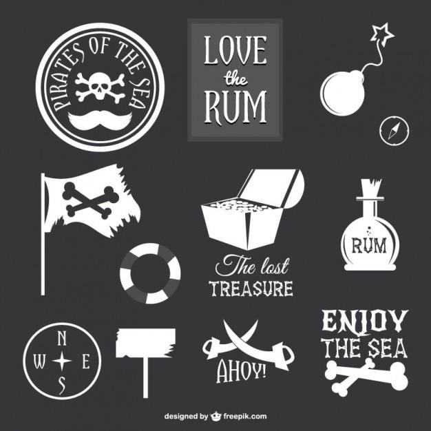 Coleção de ícones de piratas Vetor grátis
