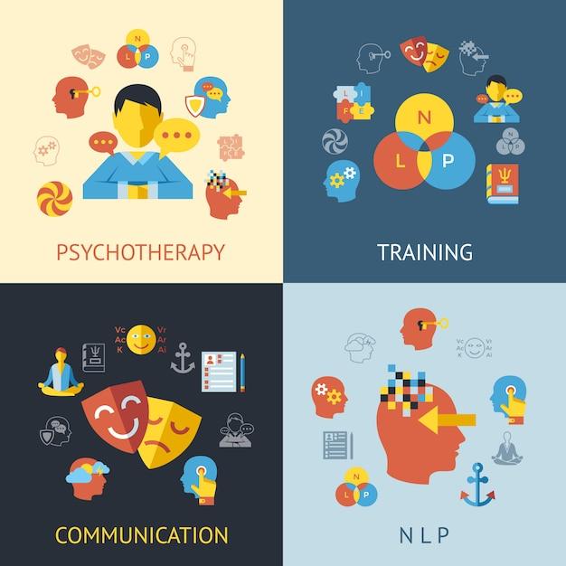 Coleção de ícones de programação linguística neuro Vetor Premium