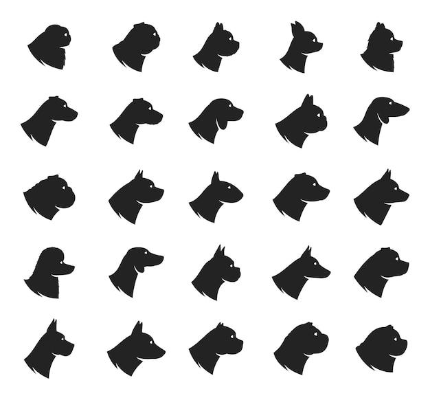 Coleção de ícones de raças de cães Vetor Premium