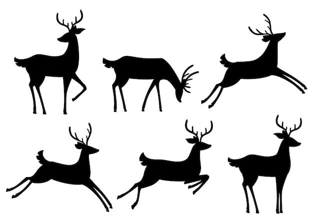 Coleção de ícones de silhueta negra. veado marrom. mamíferos ruminantes com cascos. animal de desenho animado. lindo veado com chifres. ilustração em fundo branco Vetor Premium