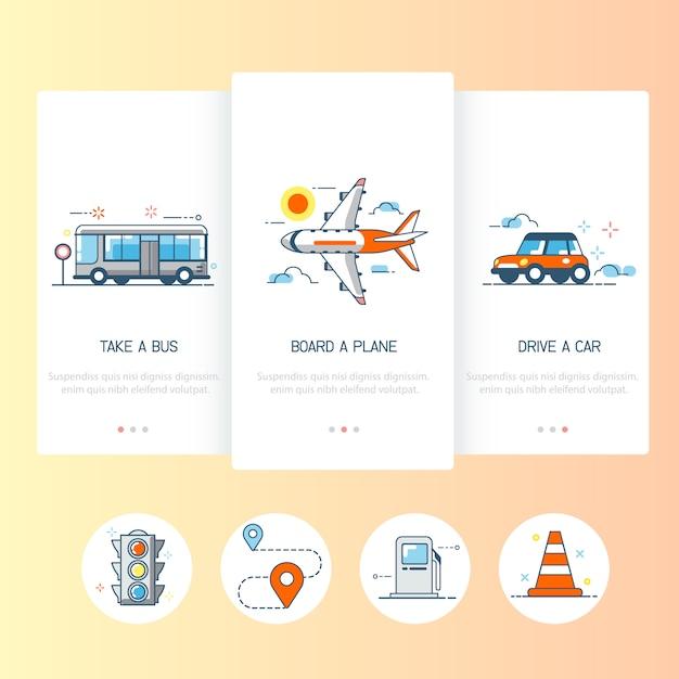 Coleção de ícones de transporte. Vetor Premium