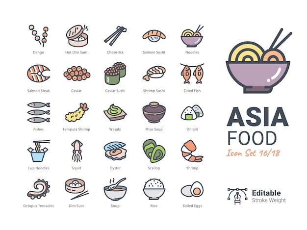 Coleção de ícones de vetor de comida de ásia Vetor Premium