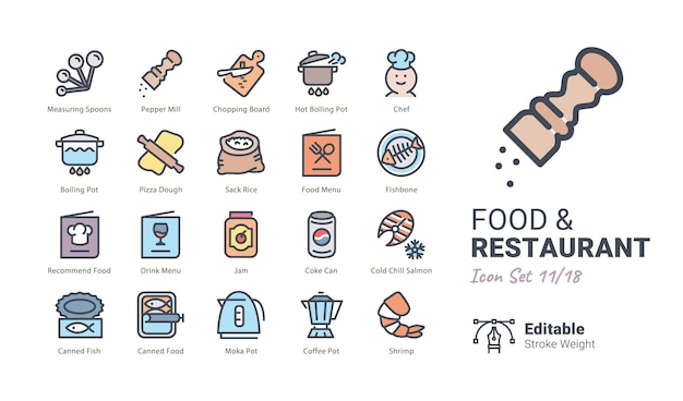 Coleção de ícones de vetor de comida e restaurante Vetor Premium