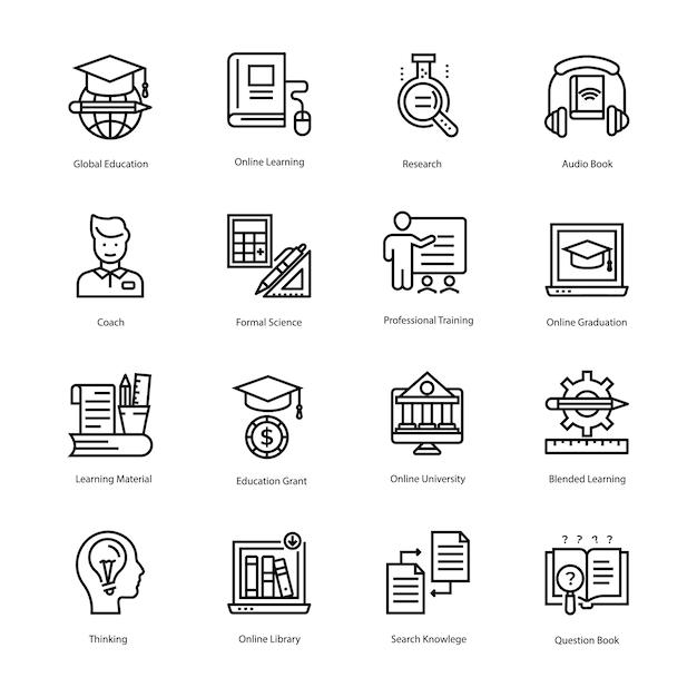 Coleção de ícones de vetor de linha de educação Vetor Premium
