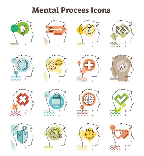 Coleção de ícones de vetor de processo mental Vetor Premium