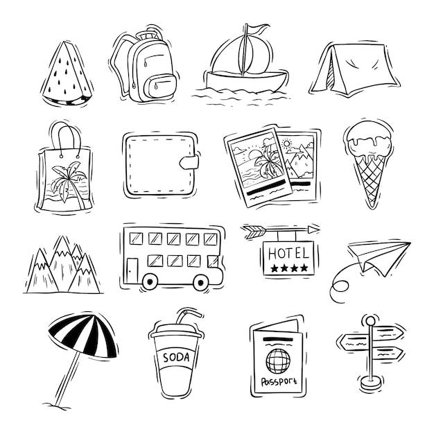 Coleção de ícones de viagens com doodle preto e branco ou estilo mão desenhada Vetor Premium