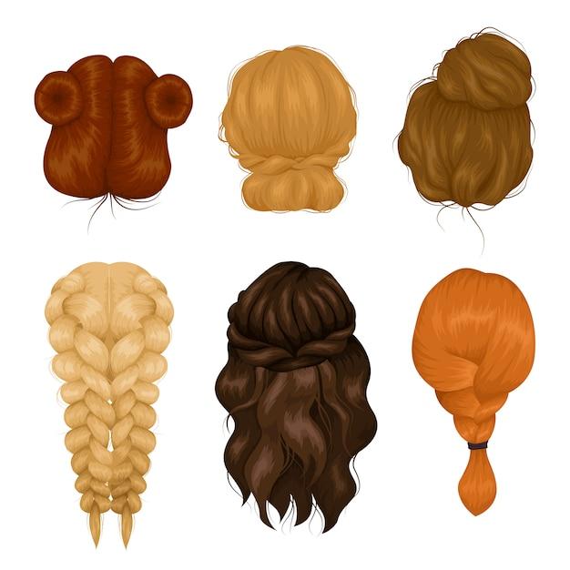 Coleção de ícones de vista traseira de penteado de mulheres Vetor grátis