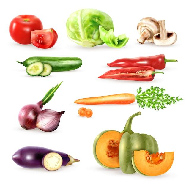 Coleção de ícones decorativos de legumes Vetor grátis