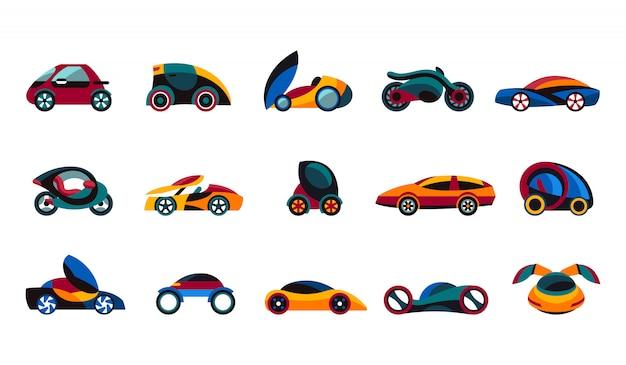 Coleção de ícones do conceito de carro do futuro Vetor Premium