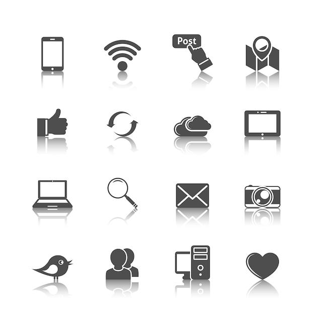 Coleção de ícones do internet Vetor grátis