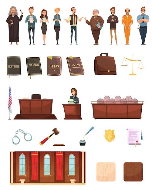 Coleção de ícones dos desenhos animados retrô de justiça penal com juiz de caixa de jurado de livros de direito e sala de audiências Vetor grátis