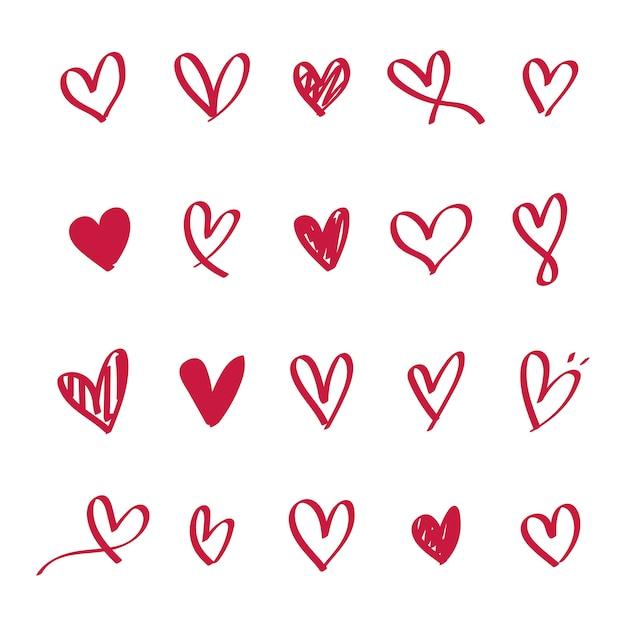Coleção de ícones ilustrados de coração Vetor grátis