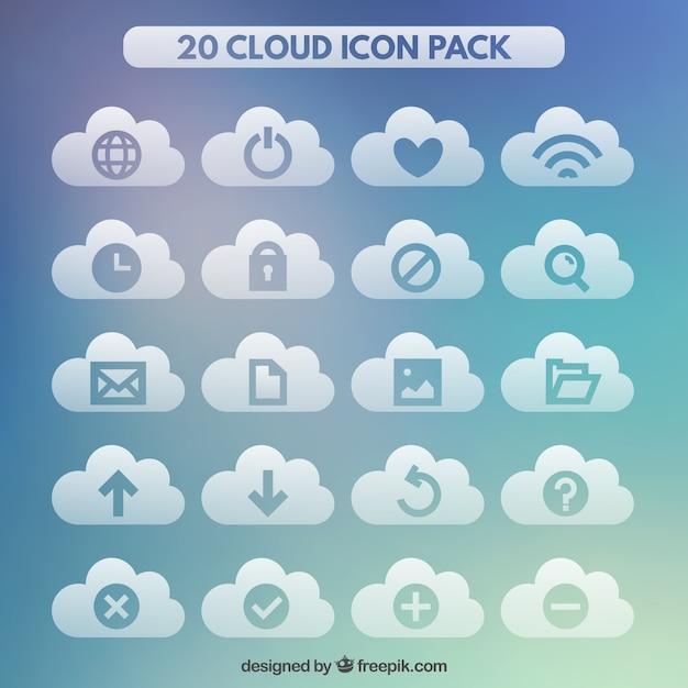 Coleção de ícones internet nuvem Vetor grátis