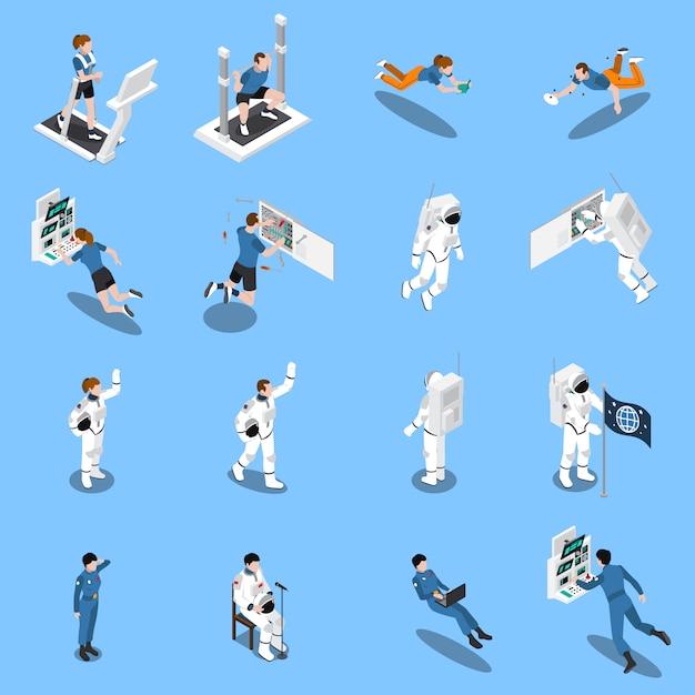 Coleção de ícones isométrica de astronautas Vetor grátis