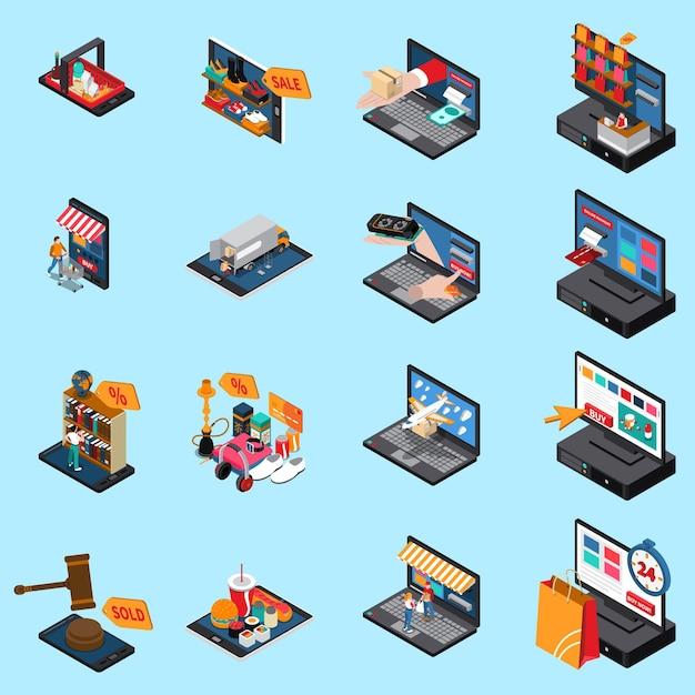 Coleção de ícones isométrica de conceito de comércio eletrônico de compras móvel com vendas on-line de alimentos roupas eletrônicos isolados Vetor grátis