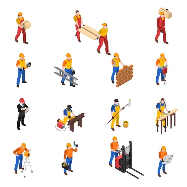 Coleção de ícones isométrica de trabalhadores de construção de construtores Vetor grátis