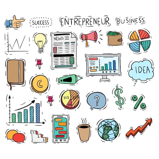 Coleção de ícones ou elementos de negócios com estilo doodle colorido Vetor Premium