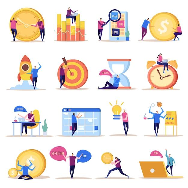Coleção de ícones plana de conceito de gerenciamento eficaz de imagens de estilo doodle isolado com caracteres humanos e símbolos Vetor grátis