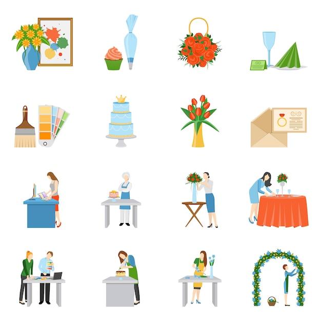 Coleção de ícones plana de decoradores interiores profissionais Vetor grátis
