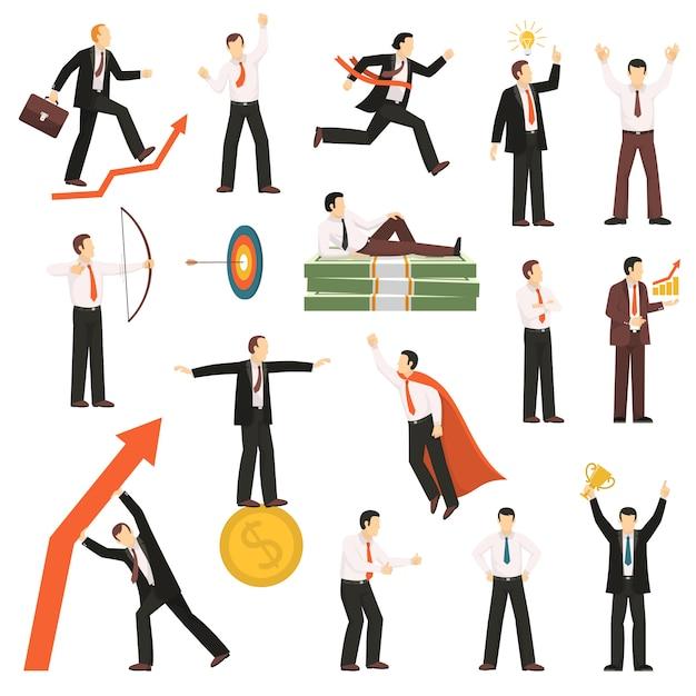 Coleção de ícones plana de empresário bem sucedido Vetor grátis