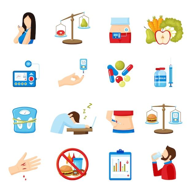 Coleção de ícones plana de sintomas de diabetes Vetor grátis
