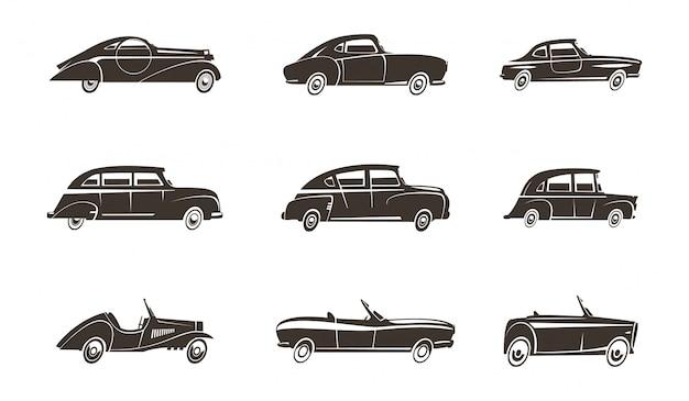 Coleção de ícones pretos de design automotivo de carros retrô isolado ilustração vetorial Vetor Premium