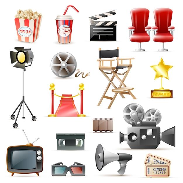Coleção de ícones retrô de filme de cinema Vetor grátis