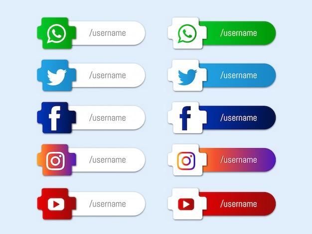 Coleção de ícones terço inferior de mídias sociais modernas Vetor grátis