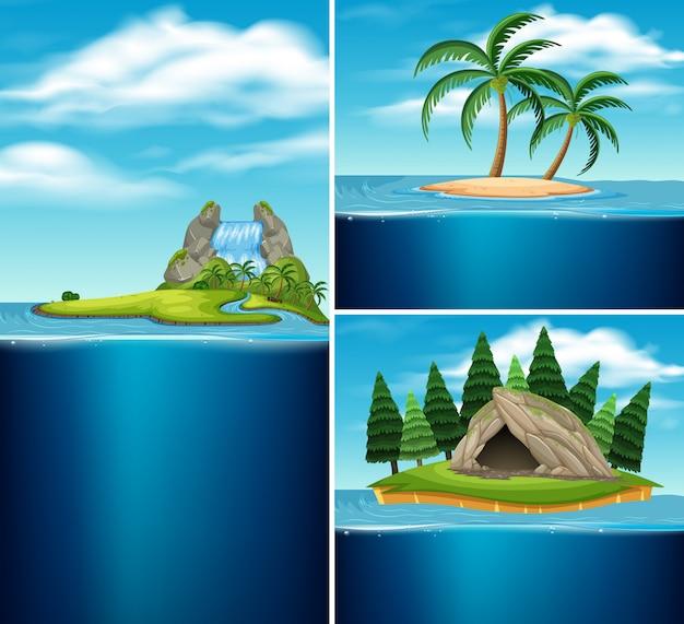 Coleção de ilhas diferentes Vetor Premium