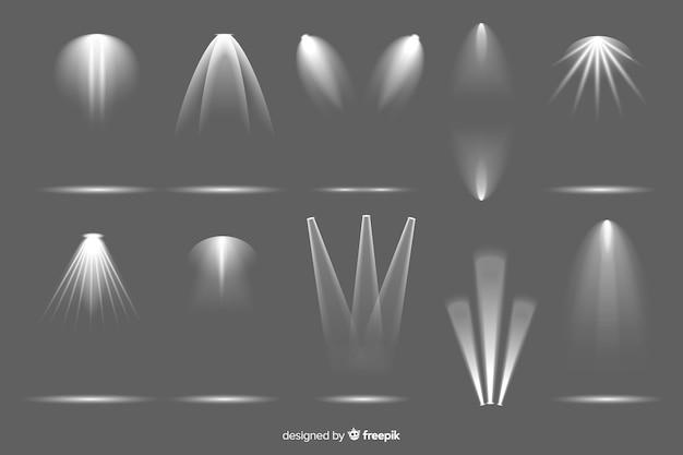 Coleção de iluminação realista de holofotes Vetor grátis