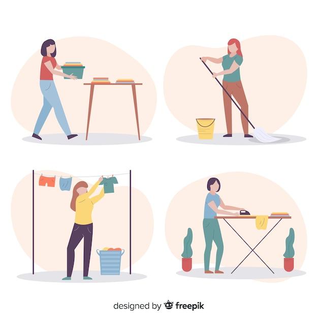 Coleção de ilustração com processo de limpeza da casa Vetor grátis