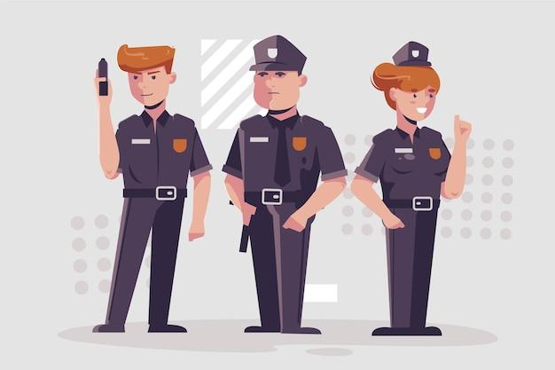 Coleção de ilustração da polícia Vetor grátis