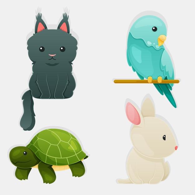 Coleção de ilustração de conceito de animais diferentes Vetor grátis