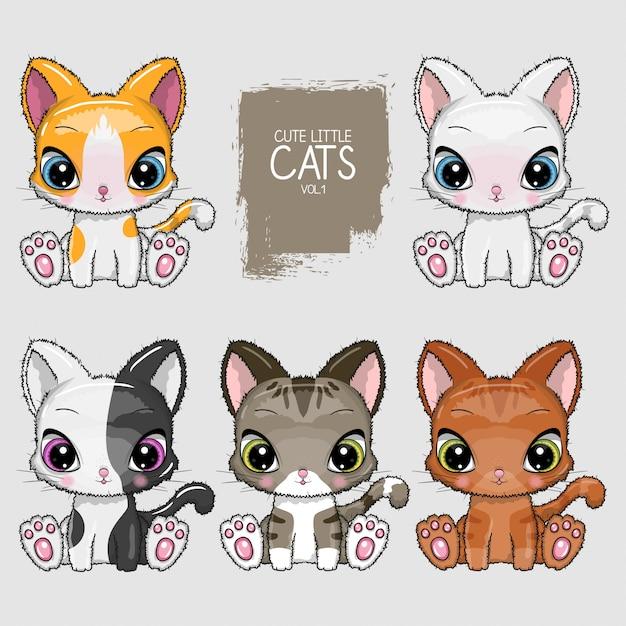 Coleção de ilustração de gatos fofos Vetor Premium