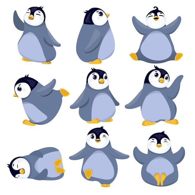 Coleção de ilustração de pinguins de natal Vetor Premium