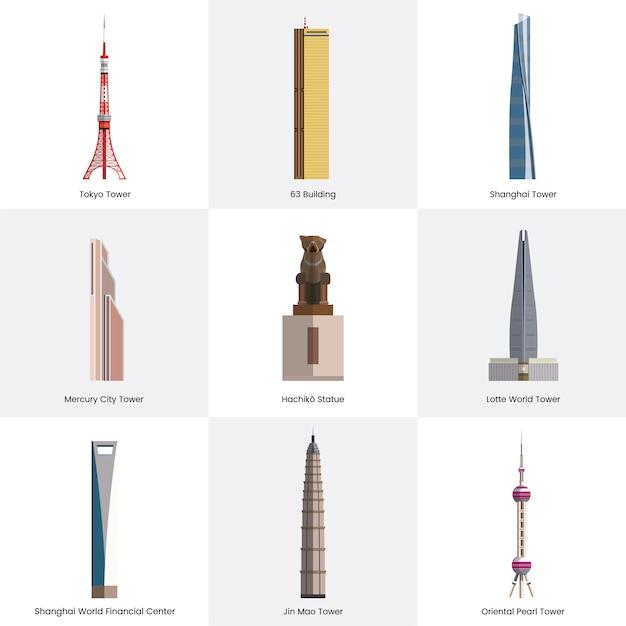 Coleção de ilustração de pontos turísticos famosos Vetor grátis
