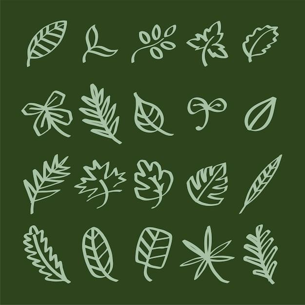 Coleção de ilustração de rabiscos de folha Vetor grátis