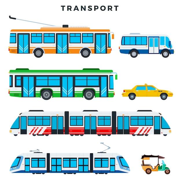 Coleção de ilustração de transporte público Vetor Premium