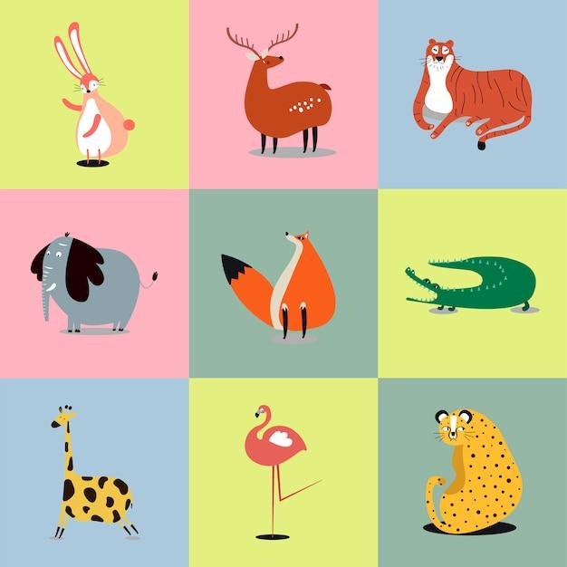 Coleção de ilustrações de animais selvagens fofos Vetor grátis