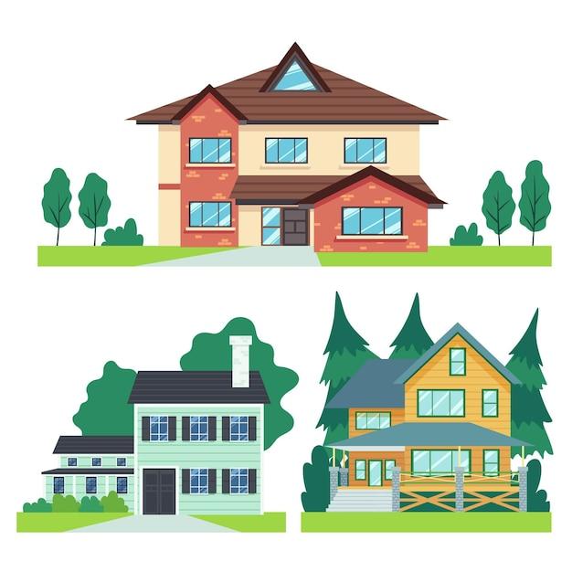 Coleção de ilustrações de casa de design plano Vetor Premium