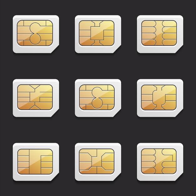 Coleção de imagens vetoriais de cartões micro sim com chips diferentes Vetor Premium
