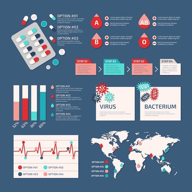 Coleção de infográfico médica Vetor grátis