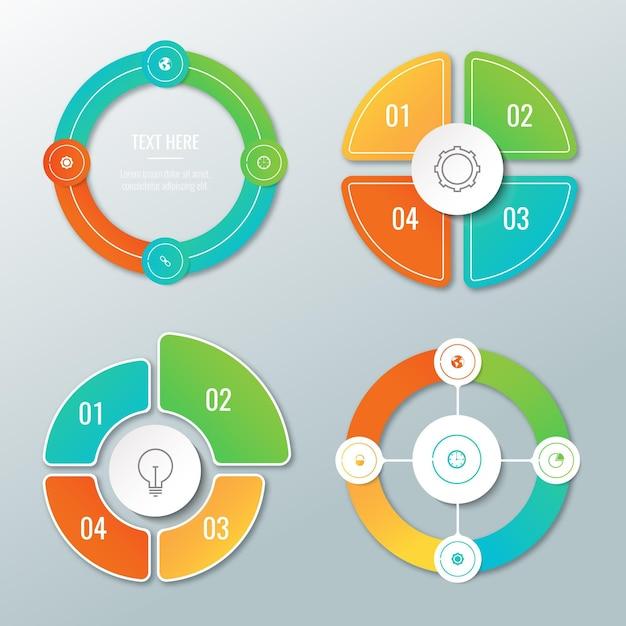Coleção de infográfico radial gradiente Vetor grátis