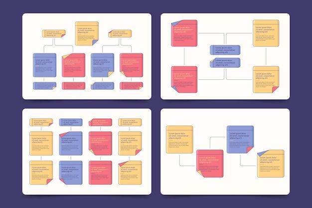 Coleção de infográficos de painéis de notas adesivas Vetor Premium
