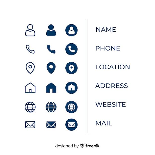 Coleção de informações de ícone de cartão de visita Vetor Premium