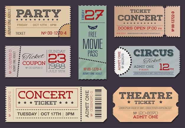 Coleção de ingressos e cupons de teatro e cinema Vetor Premium