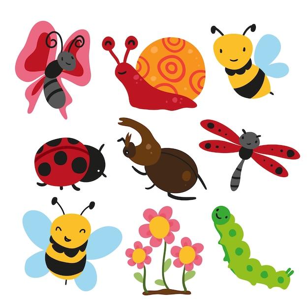Coleção de insetos, design de vetores de insetos Vetor grátis